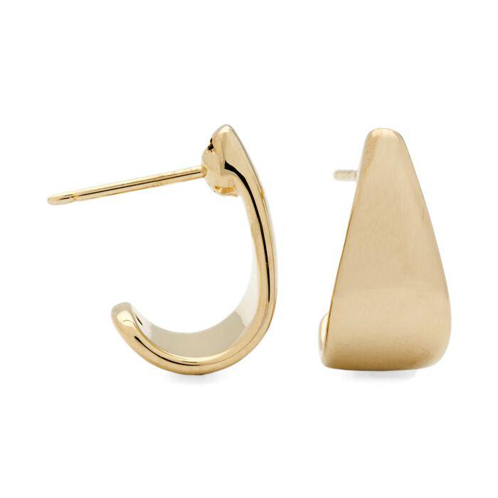 "14kt Yellow Gold Graduated J-Hoop Earrings. 3/8"", , default"