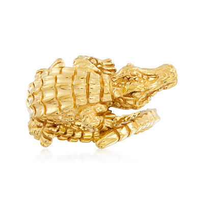 Italian 18kt Yellow Gold Textured Alligator Bypass Ring, , default