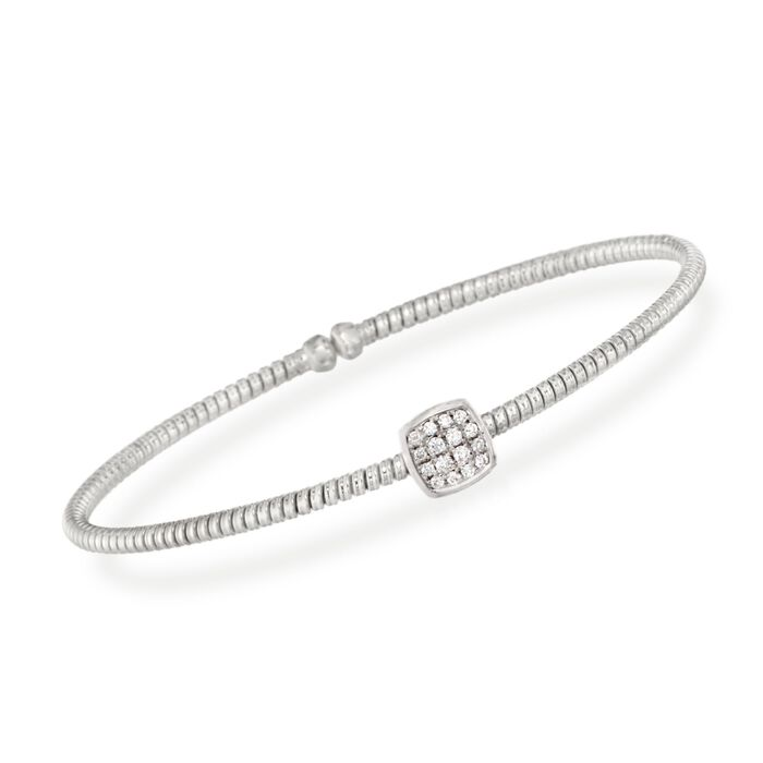 ".16 ct. t.w. Diamond Square Bracelet in 18kt White Gold. 7"", , default"