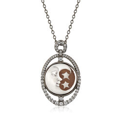 Shell and 1.20 ct. t.w. White Topaz Moon and Stars Cameo Pendant Necklace in Sterling Silver, , default