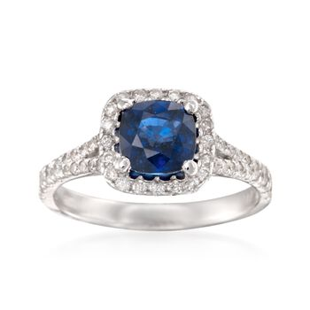 1.50 Carat Sapphire and .55 ct. t.w. Diamond Ring in 14kt White Gold, , default