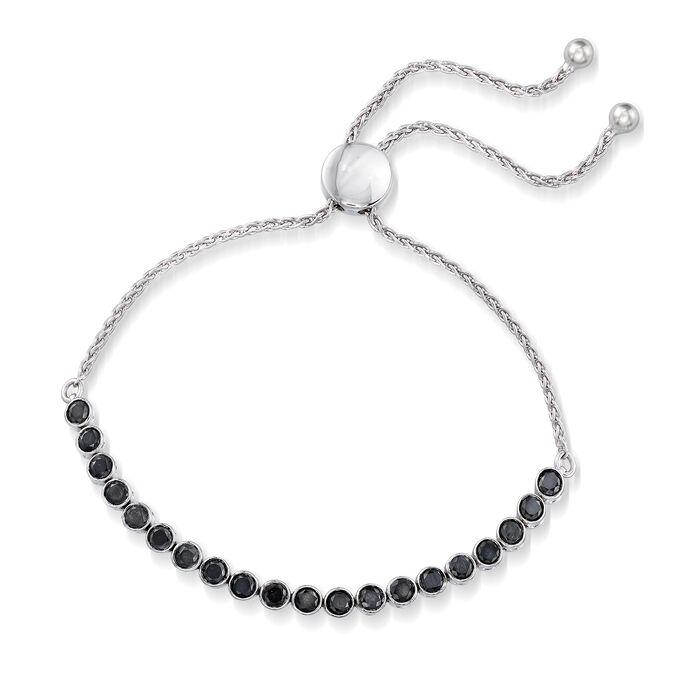 2.00 ct. t.w. Bezel-Set Black Diamond Bolo Bracelet in Sterling Silver