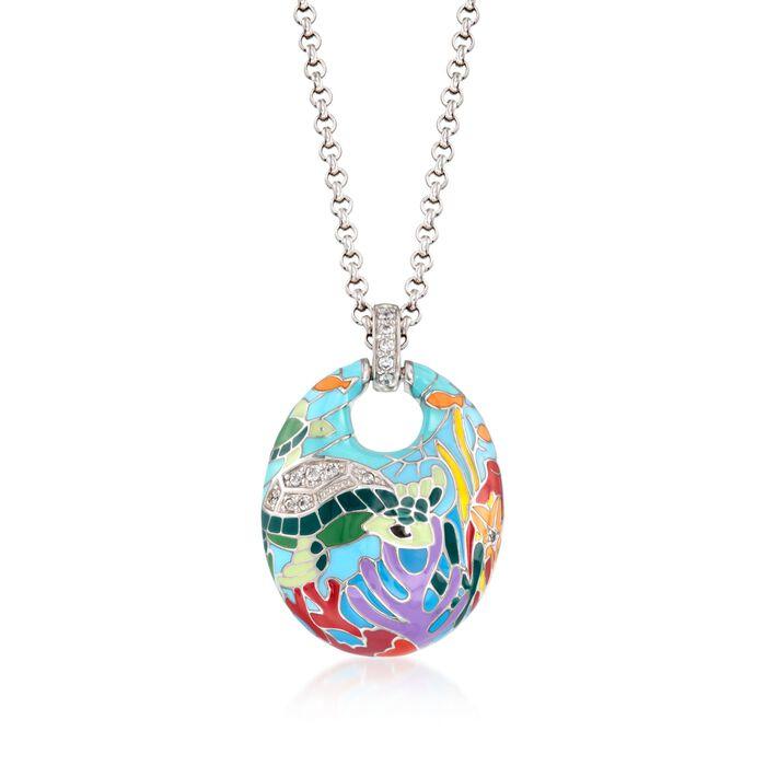"Belle Etoile ""Sea Turtle"" .20 ct. t.w. CZ and Aqua Enamel Pendant in Sterling Silver, , default"