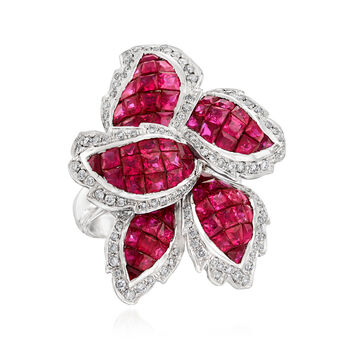 5.20 ct. t.w. Ruby and .60 ct. t.w. Diamond Leaf Ring in 18kt White Gold, , default