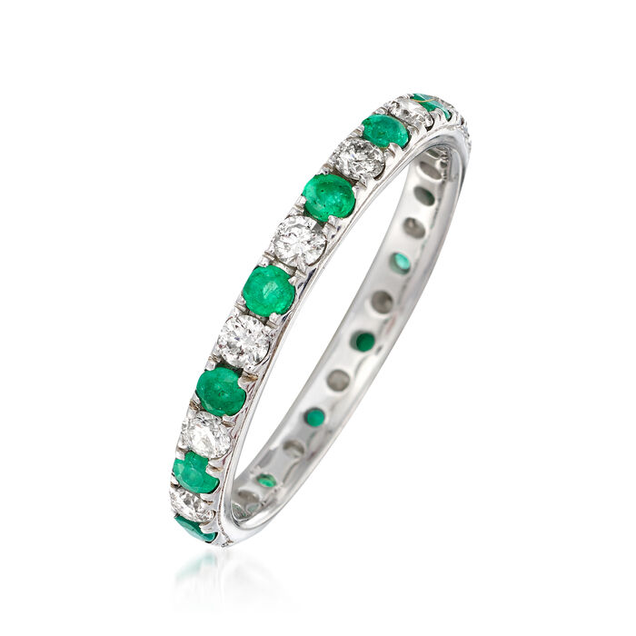 .40 ct. t.w. Emerald and .50 ct. t.w. Diamond Eternity Band in 14kt White Gold