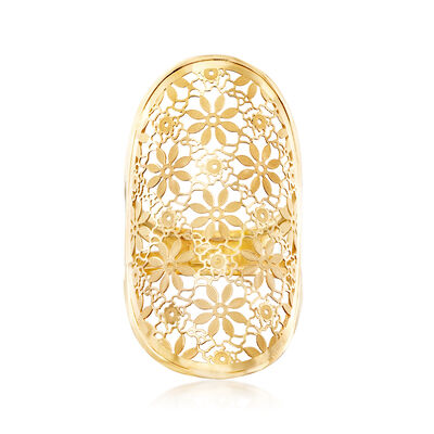 Italian 14kt Yellow Gold Floral Filigree Wide Ring, , default