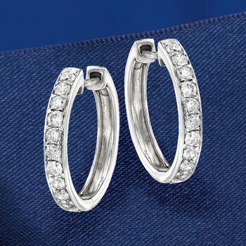 """.50 ct. t.w. Diamond Hoop Earrings in 14kt White Gold. 5/8"""""""