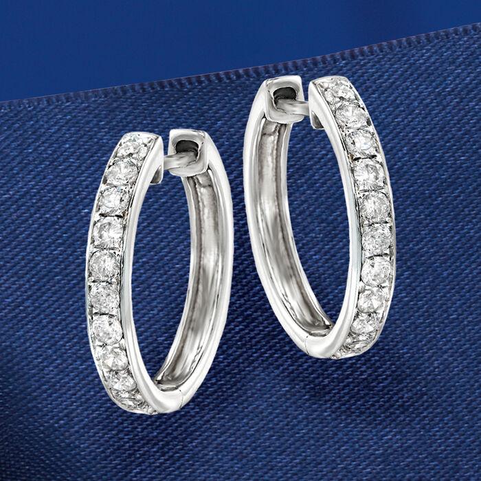 .50 ct. t.w. Diamond Hoop Earrings in 14kt White Gold