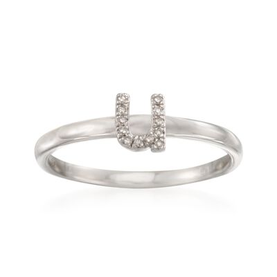 """Diamond Accent Mini Initial """"U"""" Ring in Sterling Silver, , default"""