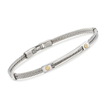 """ALOR Men's Stainless Steel Cable Bracelet With 18kt Yellow Gold. 7.75"""", , default"""
