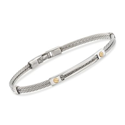 ALOR Men's Stainless Steel Cable Bracelet with 18kt Yellow Gold, , default
