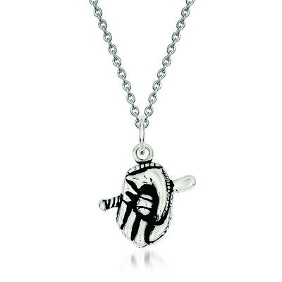 "Sterling Silver Antiqued Baseball Glove Bat Charm Necklace. 18"", , default"