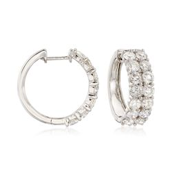 5.00 ct. t.w. Diamond Hoop Earrings in 14kt White Gold, , default