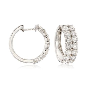 "5.00 ct. t.w. Diamond Hoop Earrings in 14kt White Gold. 3/4"", , default"