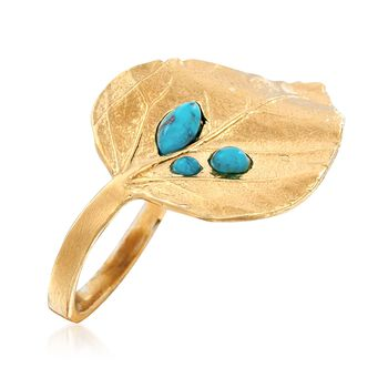 Turquoise and 18kt Gold Over Sterling Leaf Ring. Size 6, , default