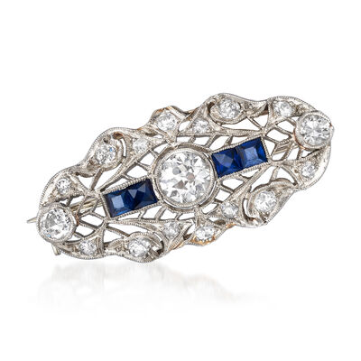 C. 1950 Vintage .85 ct. t.w. Diamond and .40 ct. t.w. Simulated Sapphire Pin in 14kt White Gold and Platinum, , default