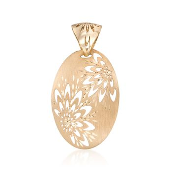 Italian Floral Pendant in 14kt Yellow Gold , , default