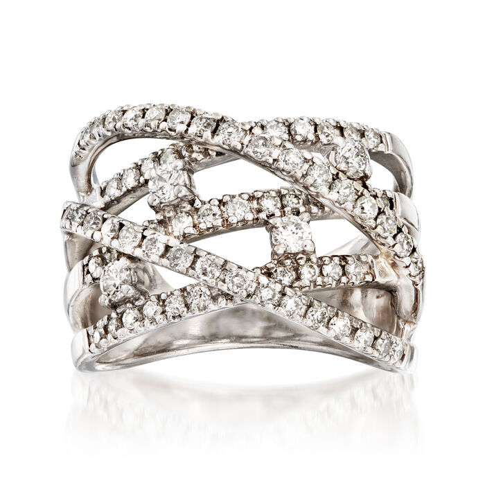C. 1980 Vintage 1.25 ct. t.w. Diamond Highway Ring in 14kt White Gold. Size 6.5