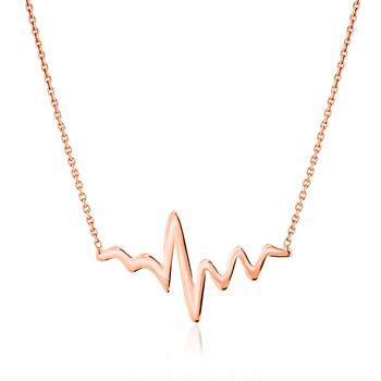 "14kt Rose Gold Heartbeat Necklace. 16"", , default"