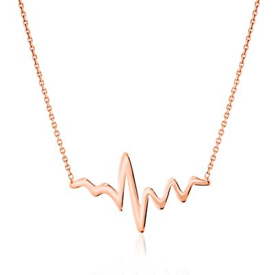 14kt Rose Gold Heartbeat Necklace, , default