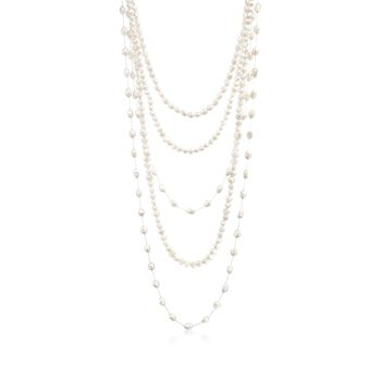"Set of Five 7-10mm Cultured Pearl Endless Necklaces. 25-48"", , default"