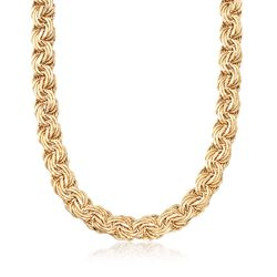 """14kt Yellow Gold Multi-Row Swirl Link Necklace. 18"""", , default"""