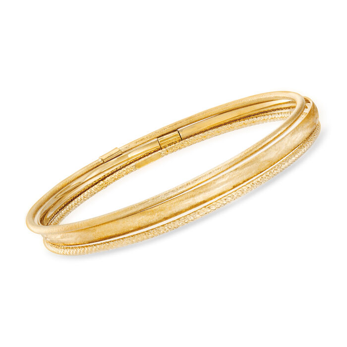 Italian 14kt Yellow Gold Jewelry Set: Three Textured Bangle Bracelets. Size 7.5, , default