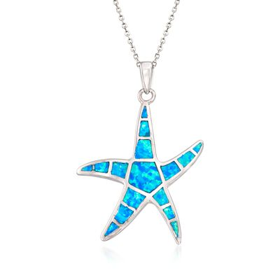 Blue Synthetic Opal Starfish Pendant Necklace in Sterling Silver, , default