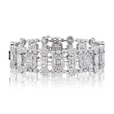 9.50 ct. t.w. Round and Baguette Diamond Cluster Bracelet in 18kt White Gold