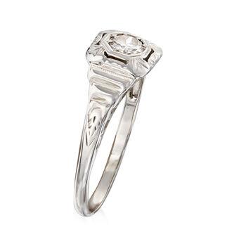 C. 1950 Vintage .33 Carat Diamond Filigree Ring in 14kt White Gold. Size 8.25, , default
