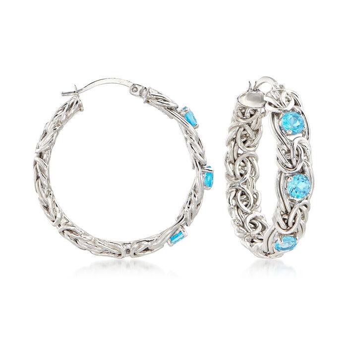 """2.00 ct. t.w. Blue Topaz Byzantine Hoop Earrings in Sterling Silver. 1 1/4"""", , default"""