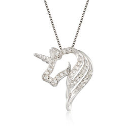 .25 ct. t.w. Diamond Open-Space Unicorn Necklace in Sterling Silver, , default