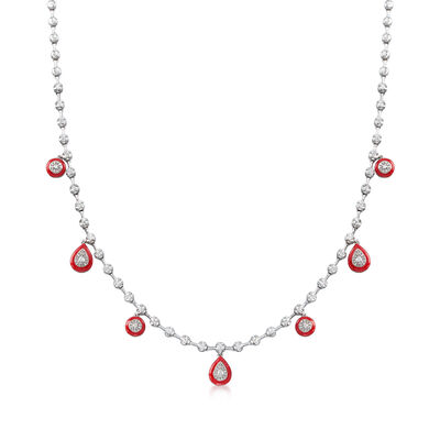 .90 ct. t.w. Diamond Teardrop Necklace with Red Enamel in 18kt White Gold, , default