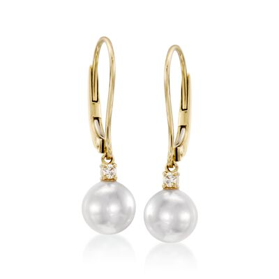Mikimoto 7mm A+ Akoya Pearl Drop Earrings with Diamonds in 18kt Yellow Gold, , default