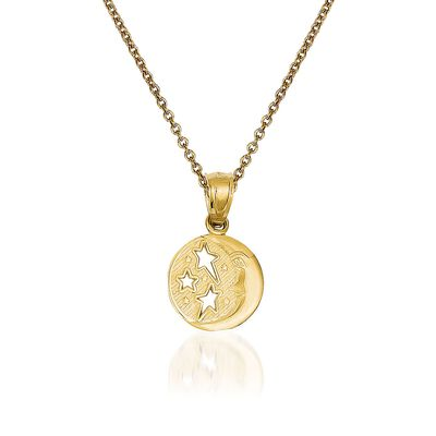 14kt Yellow Gold Moon and Stars Pendant Necklace, , default