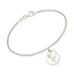Italian Cultured Pearl Bracelet With Personalized Disc Charm in Sterling Silver, , default