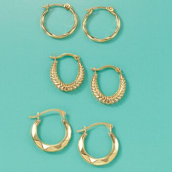 14kt Yellow Gold Jewelry Set: Three Pairs of Huggie Hoop Earrings, , default