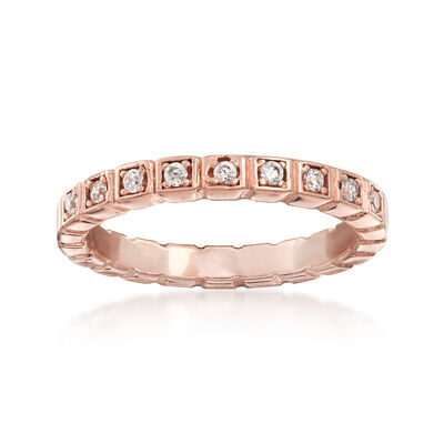 Italian .10 ct. t.w. CZ Squared Ring in 18kt Rose Gold Over Sterling, , default