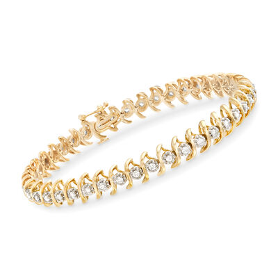 1.00 ct. t.w. Diamond S-Link Bracelet in 18kt Gold Over Sterling