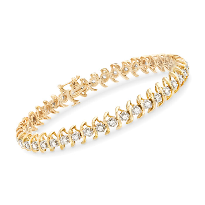 1.00 ct. t.w. Diamond S-Link Bracelet in 18kt Gold Over Sterling