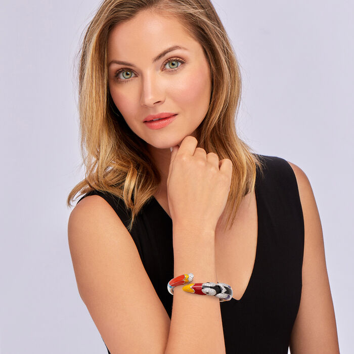 """Belle Etoile """"Toucan"""" Multicolored Enamel and 4.23 ct. t.w. Black and White CZ Bypass Bracelet in Sterling Silver"""
