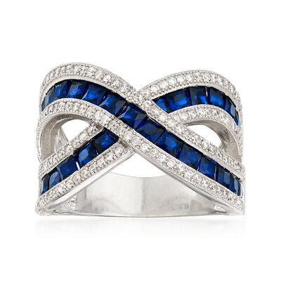 2.70 ct. t.w. Synthetic Blue Spinel and 1.05 ct. t.w. CZ Crisscross Ring in Sterling Silver, , default