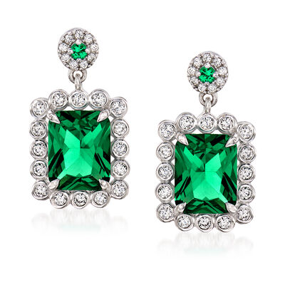 Simulated Emerald and .57 ct. t.w. CZ Drop Earrings in Sterling Silver, , default