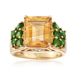 5.50 Carat Emerald-Cut Citrine Ring With 1.70 ct. t.w. Green Diopsides in 14kt Yellow Gold. Size 5, , default