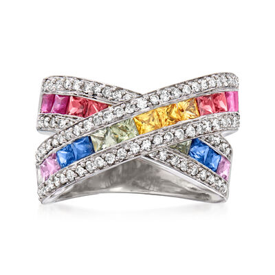 C. 1990 Vintage 2.97 ct. t.w. Multicolored Sapphire and .74 ct. t.w. Diamond Crisscross Ring in 14kt White Gold