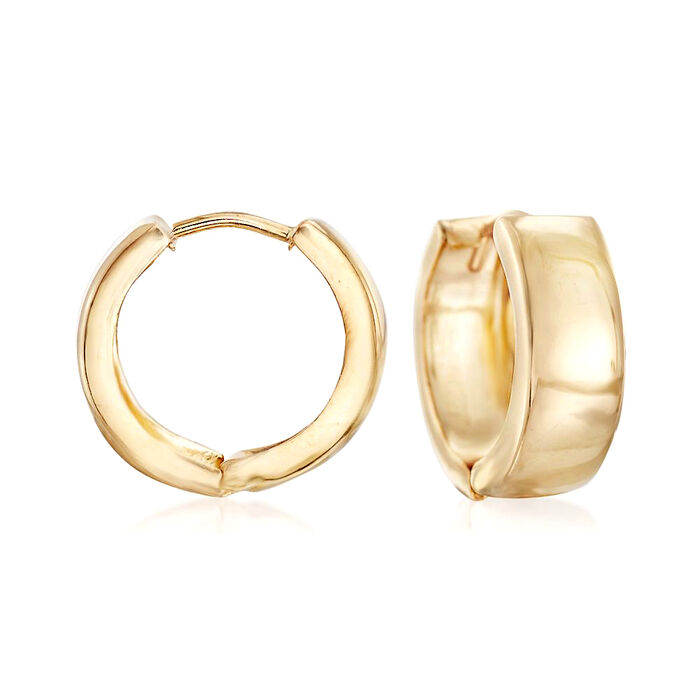 "Italian 18kt Yellow Gold Huggie Hoop Earrings. 1/2"", , default"