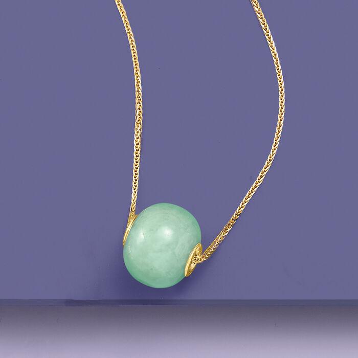 16mm Green Jade Bead Pendant in 14kt Yellow Gold