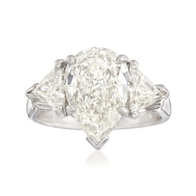 Majestic Collection 4.50 ct. t.w. Pear and Trillion Diamond Ring in 18kt White Gold