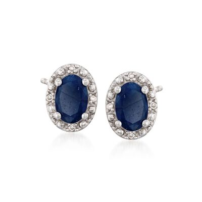 1.20 ct. t.w. Oval Sapphire Stud Earrings with Diamond Accents in Sterling Silver, , default