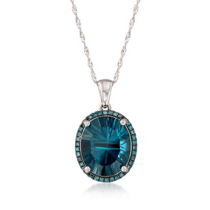 "5.50 Carat London Blue Topaz and .14 ct. t.w. Blue Diamond Pendant Necklace in 14kt White Gold. 18"", , default"